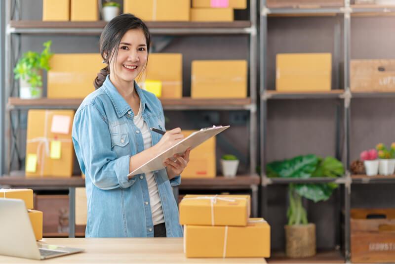 woman distribution boxes