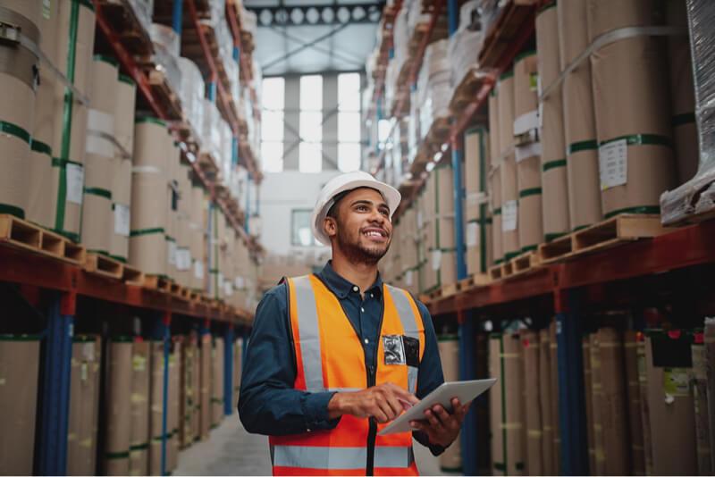 Man establishing order point levels on inventory
