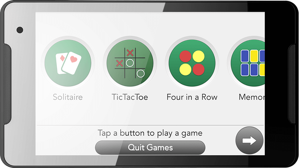 GrandPad displaying game app icon selectors