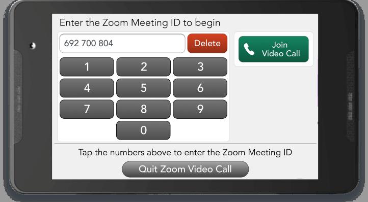 Manual Zoom meeting ID entry keypad.
