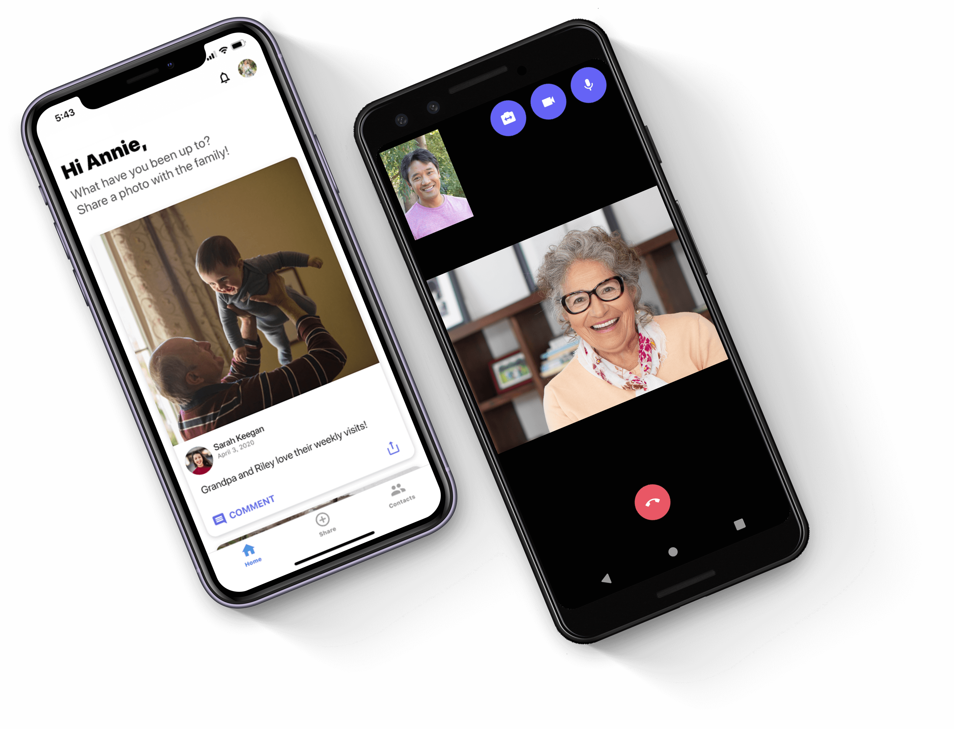 Image of photo share and a video call on a companions smartphone