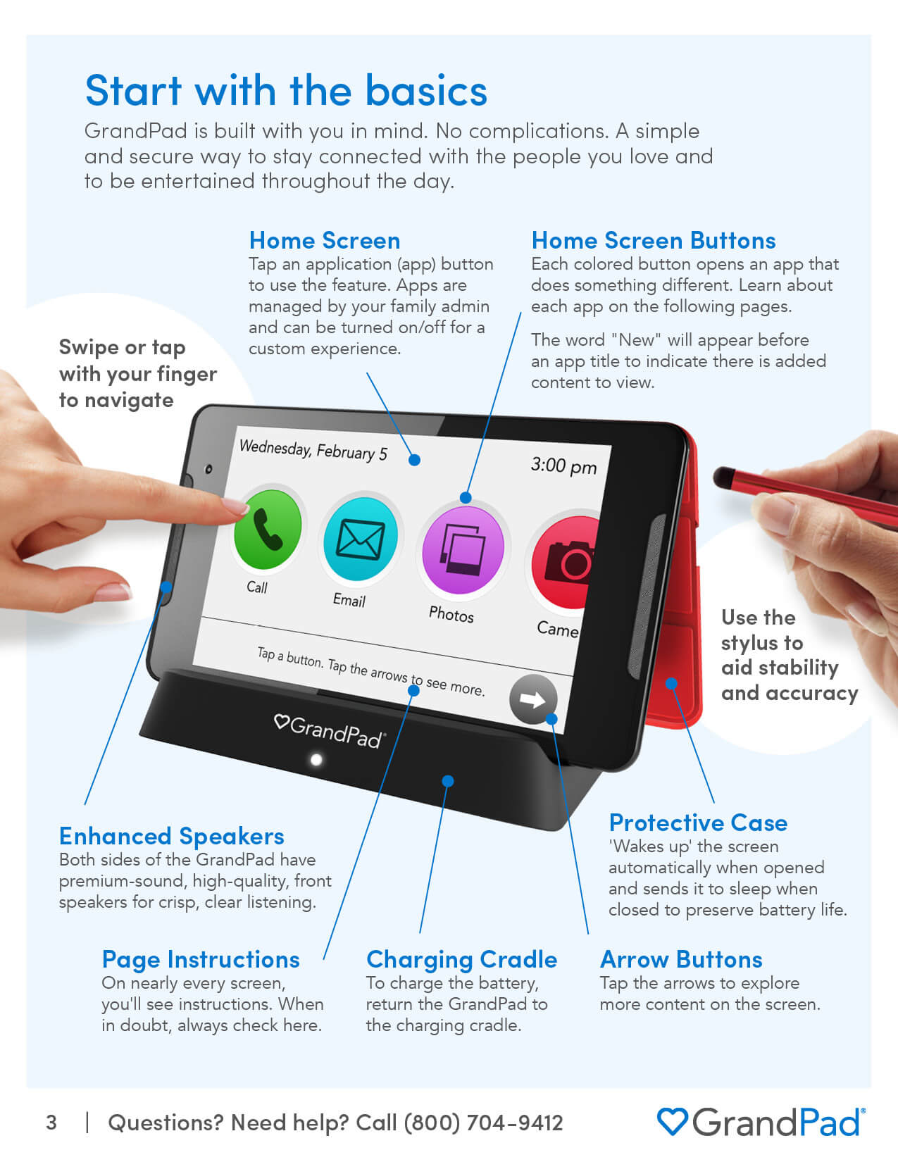 Basic overview of the GrandPad features and accessories