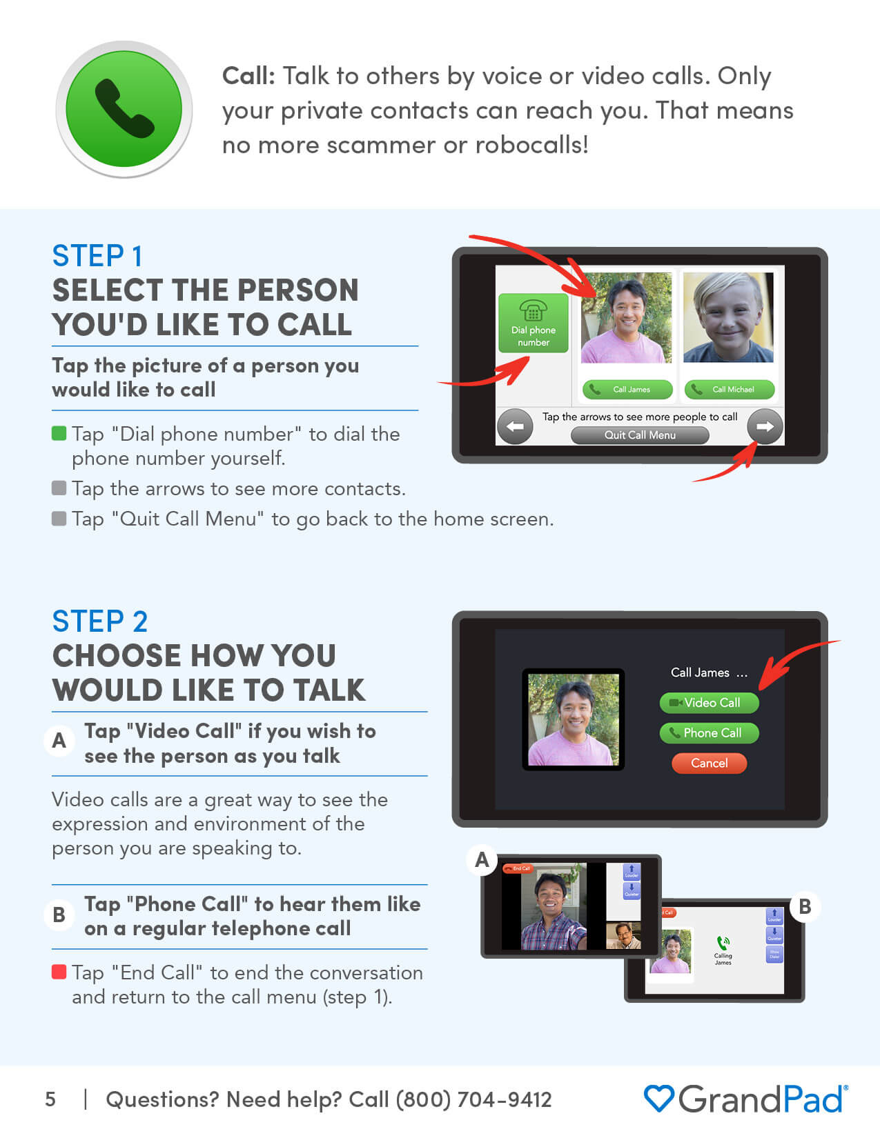 Instruction on using the Call app