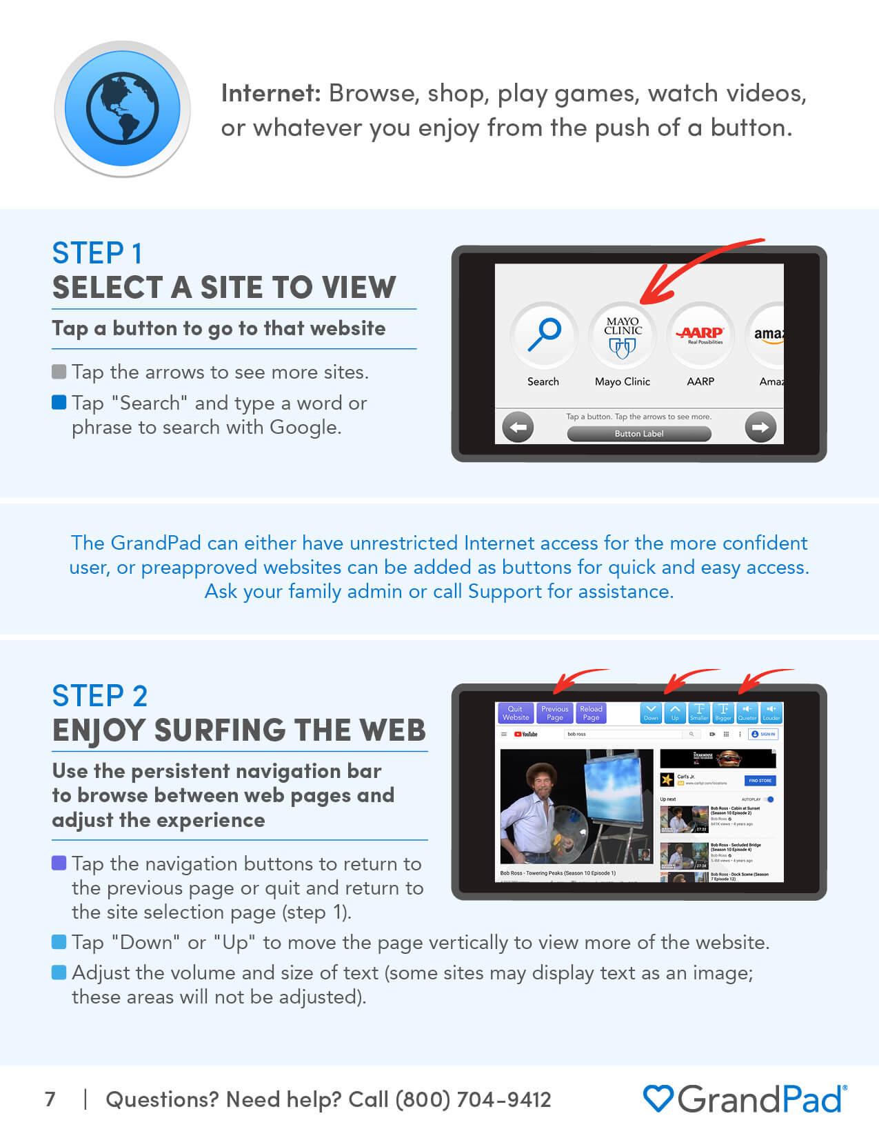 Instruction on using the Internet app