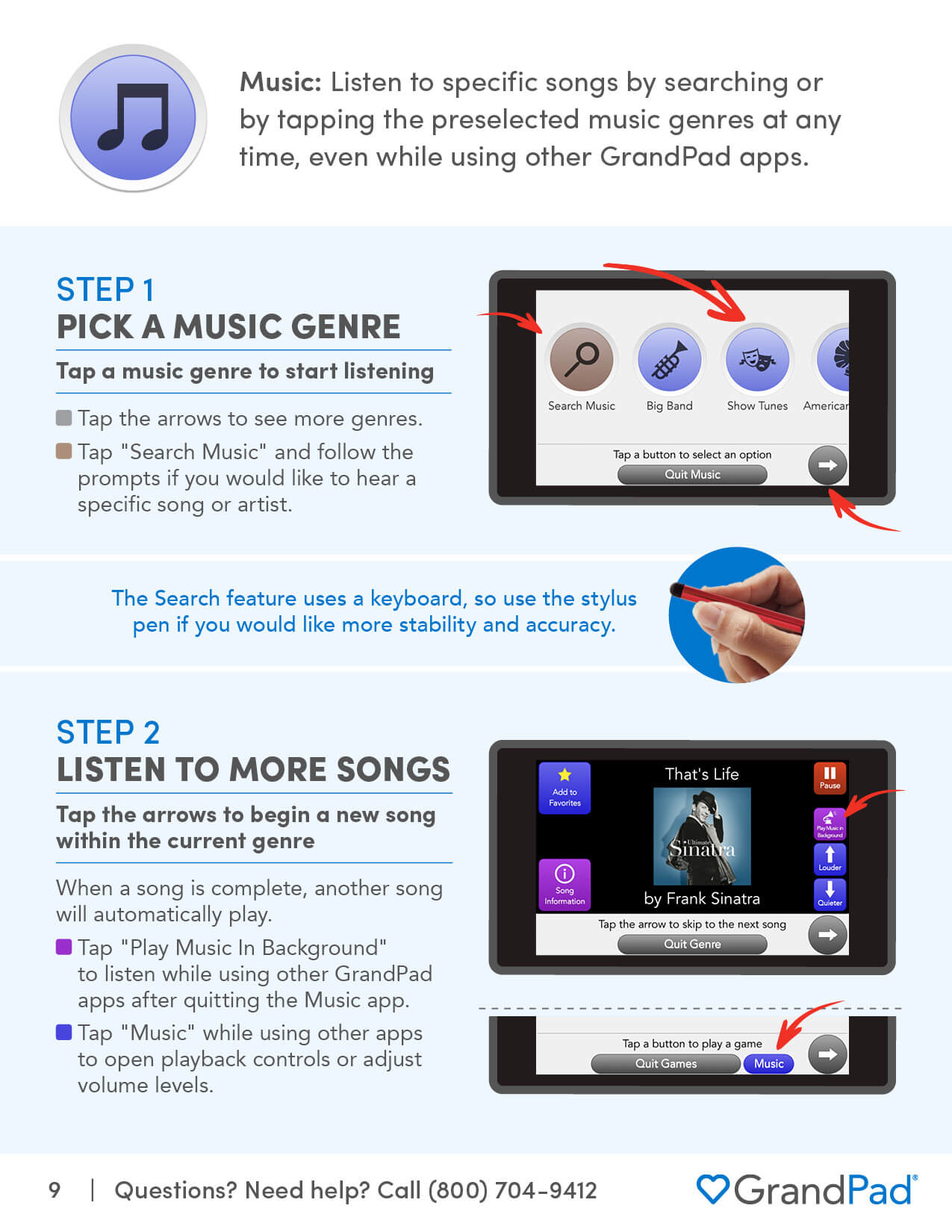 Instruction on using the Music app