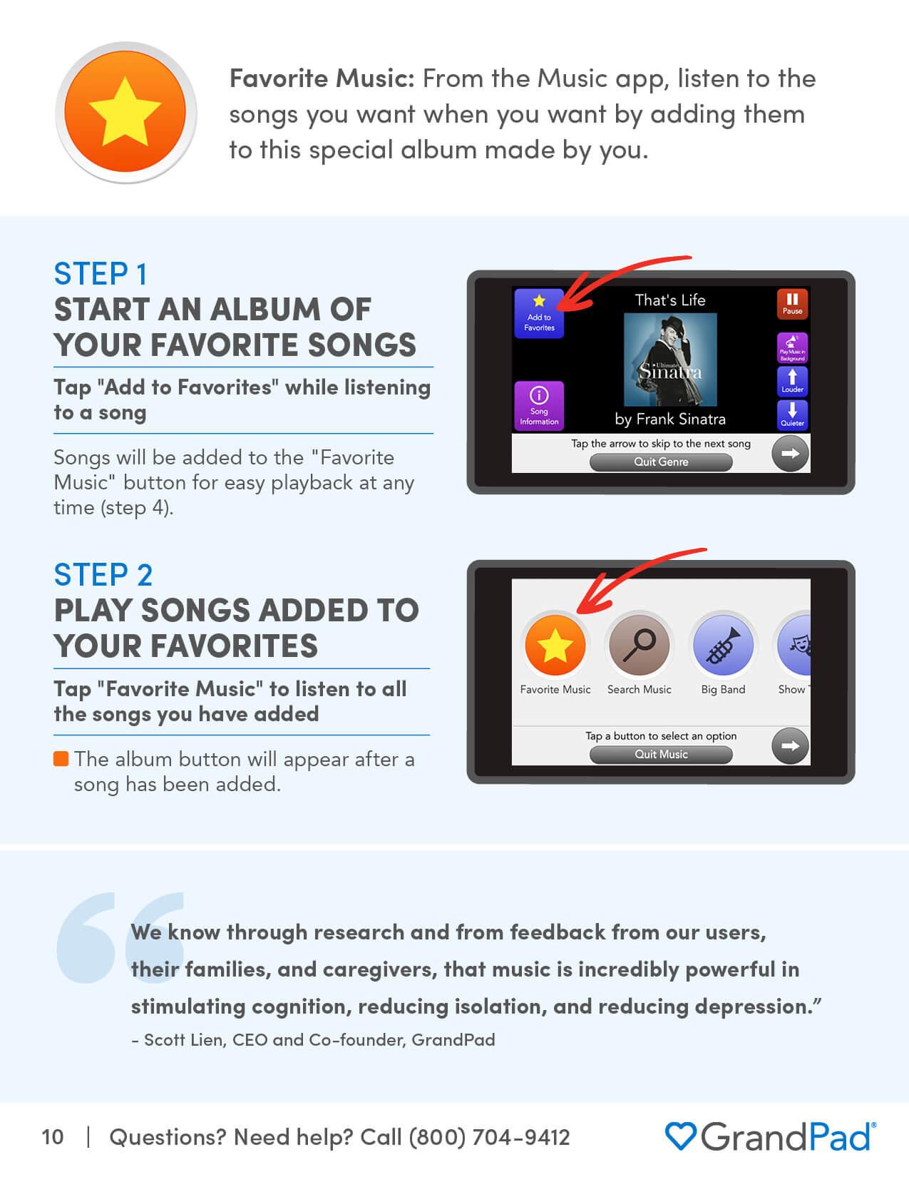 Instruction on using the Favorite Music album