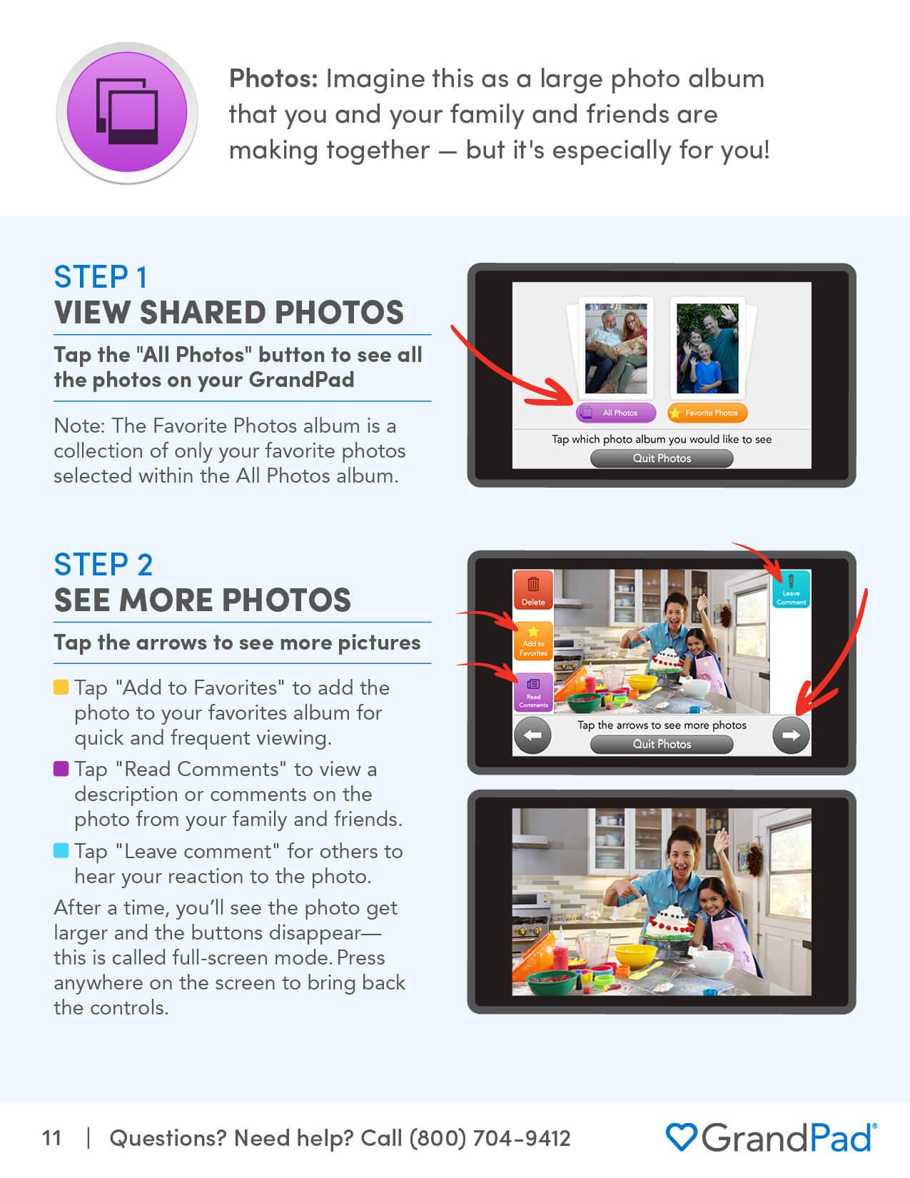 Instruction on using the Photos app
