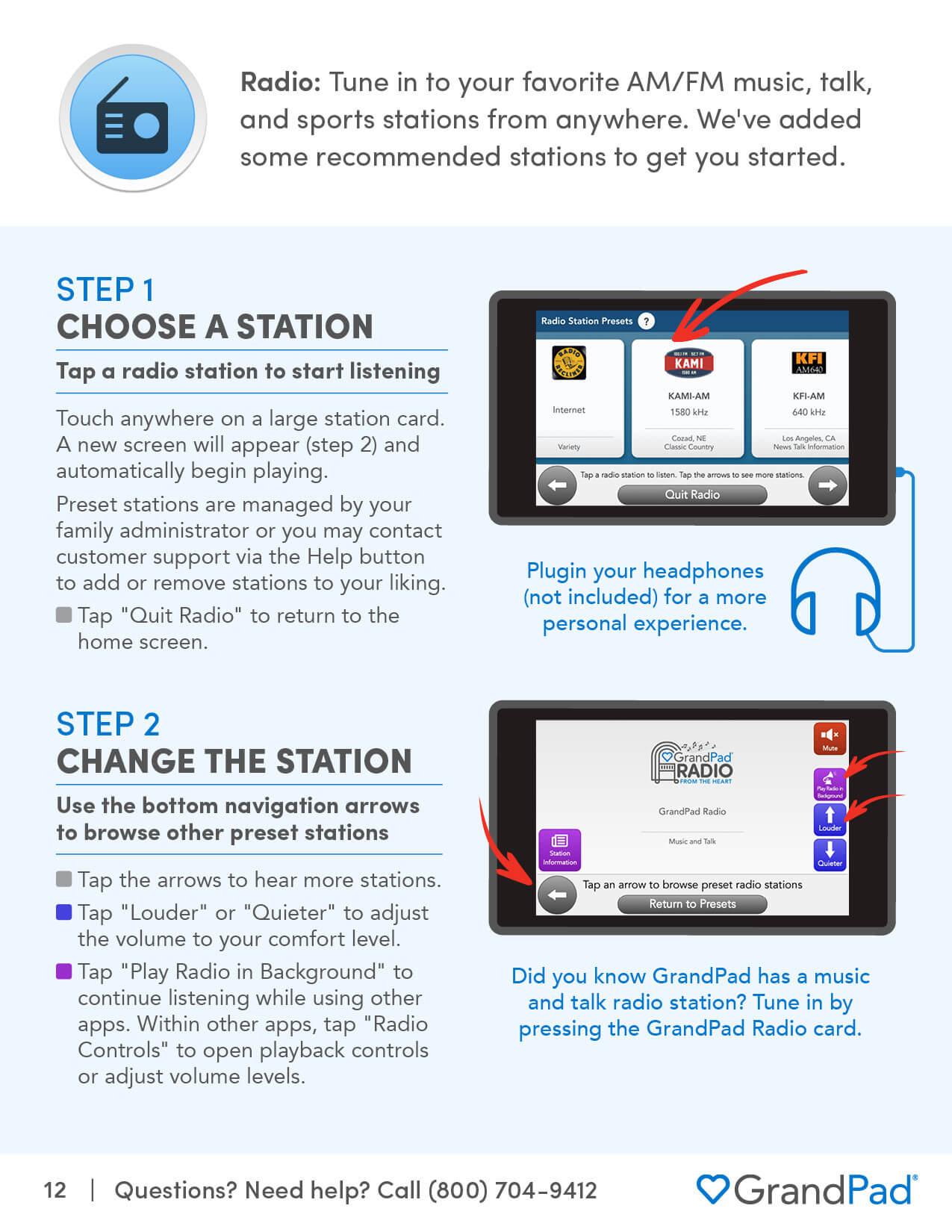 Instruction on using the Radio app