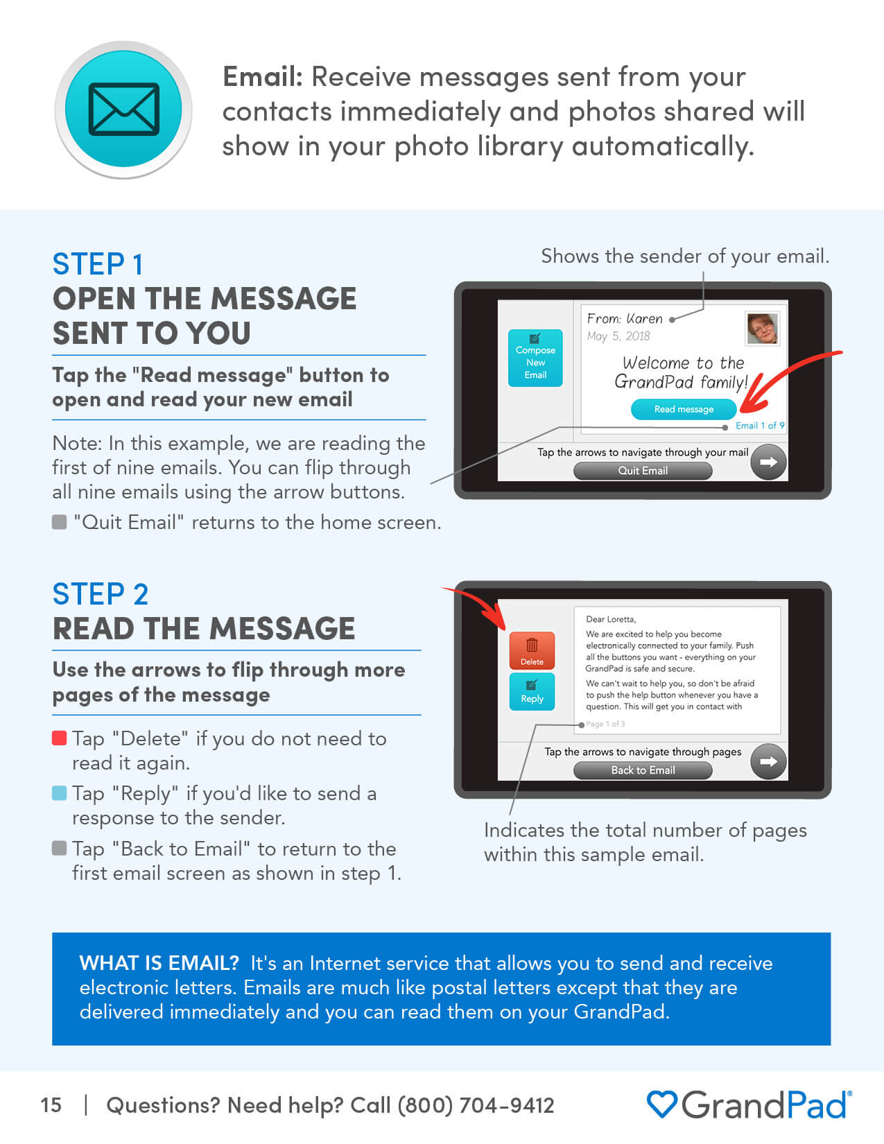 Instruction on using the Email app