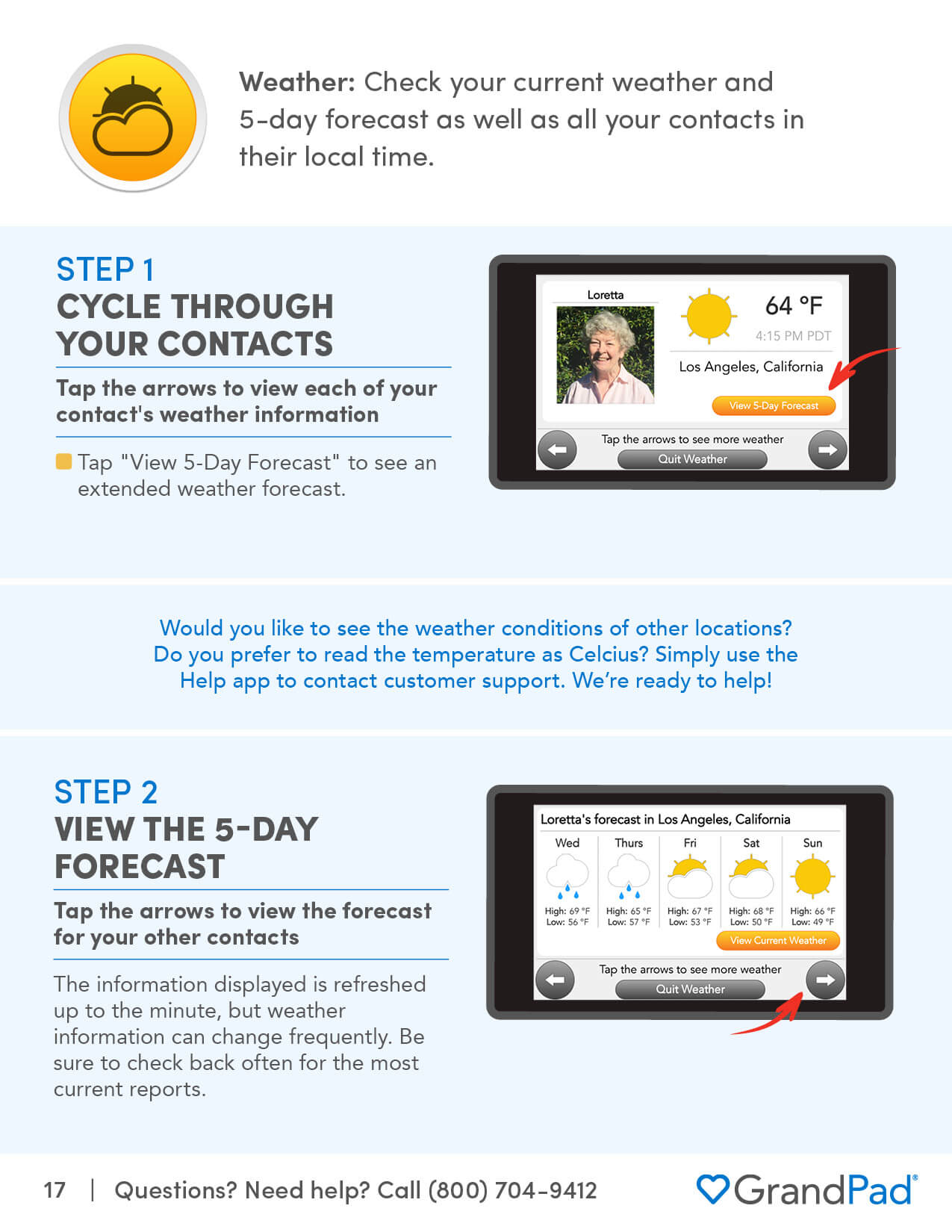 Instruction on using the Weather app