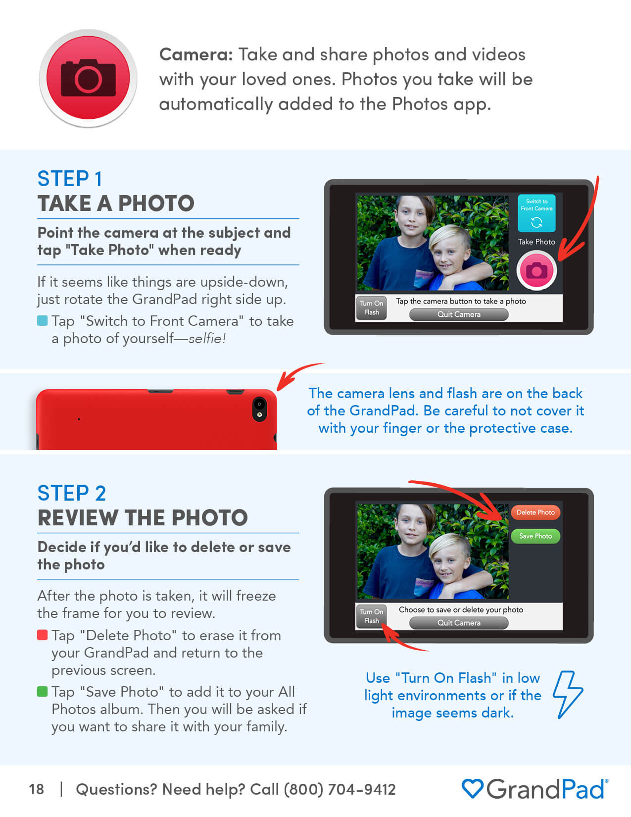 Instruction on using the Camera app