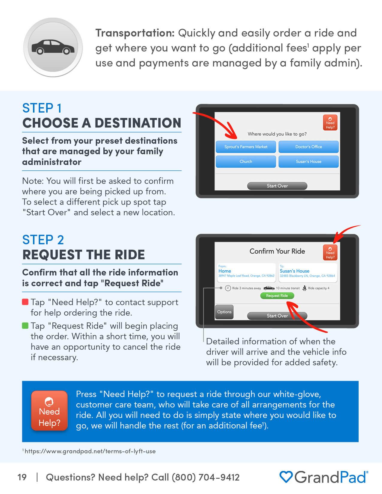 Instruction on using the Transportation app