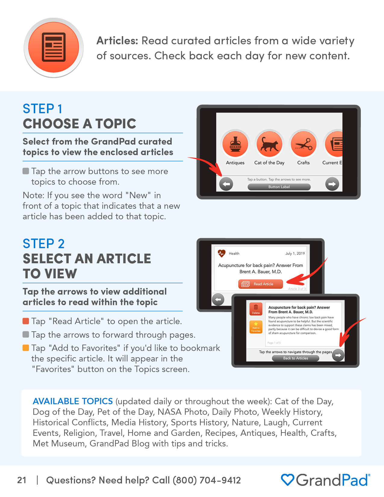 Instruction on using the Articles app