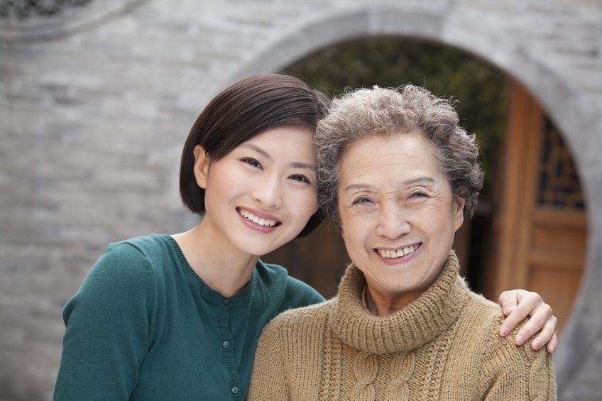 Joyful senior mother and daughter