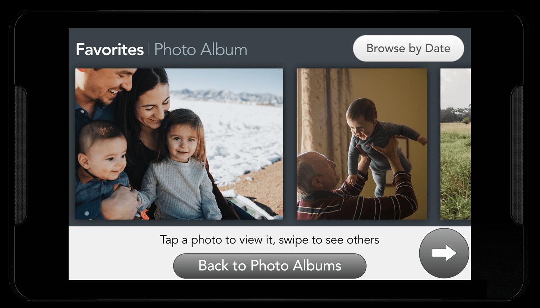 Photos album timeline screen