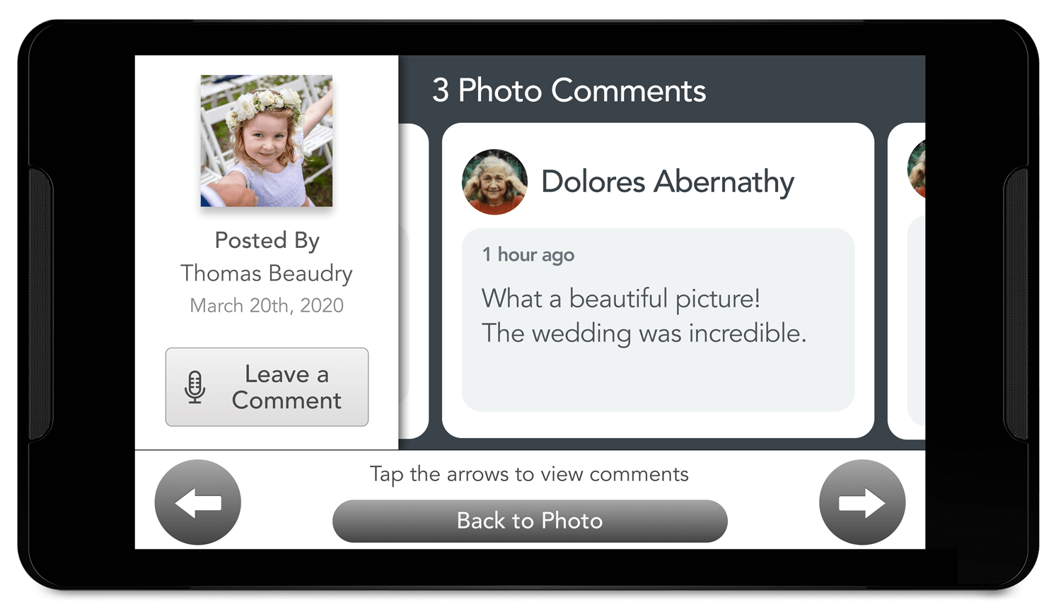 Photos picture comment view on  the GrandPad tablet from the companion app.