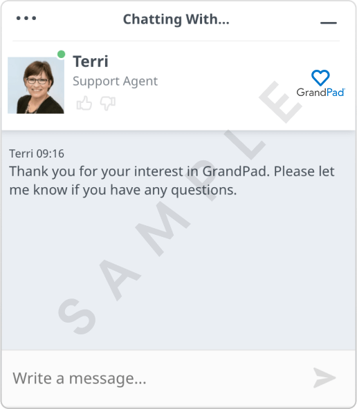 Example of a chat window with a support agent messaging a customer.