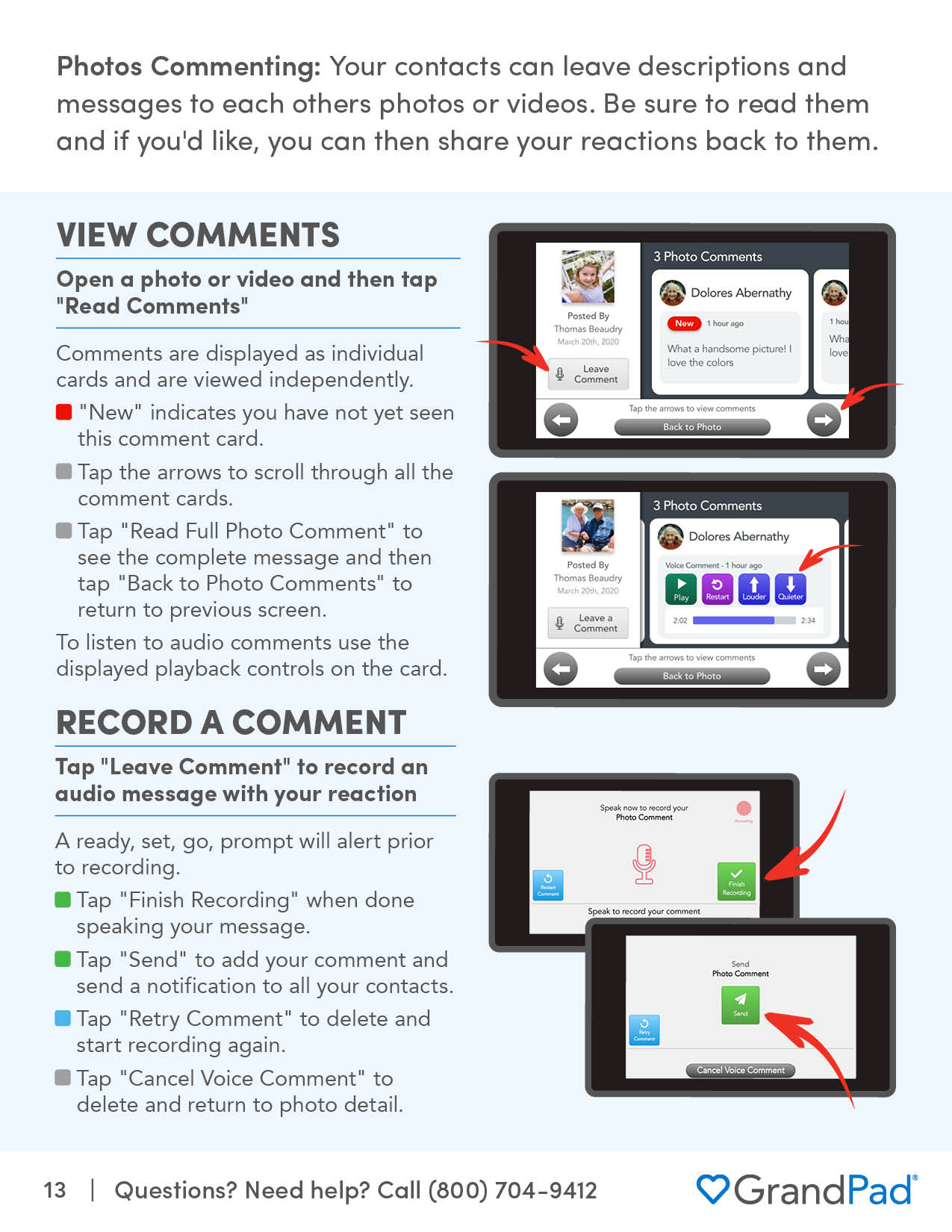 Instruction on viewing comments on a photo or video
