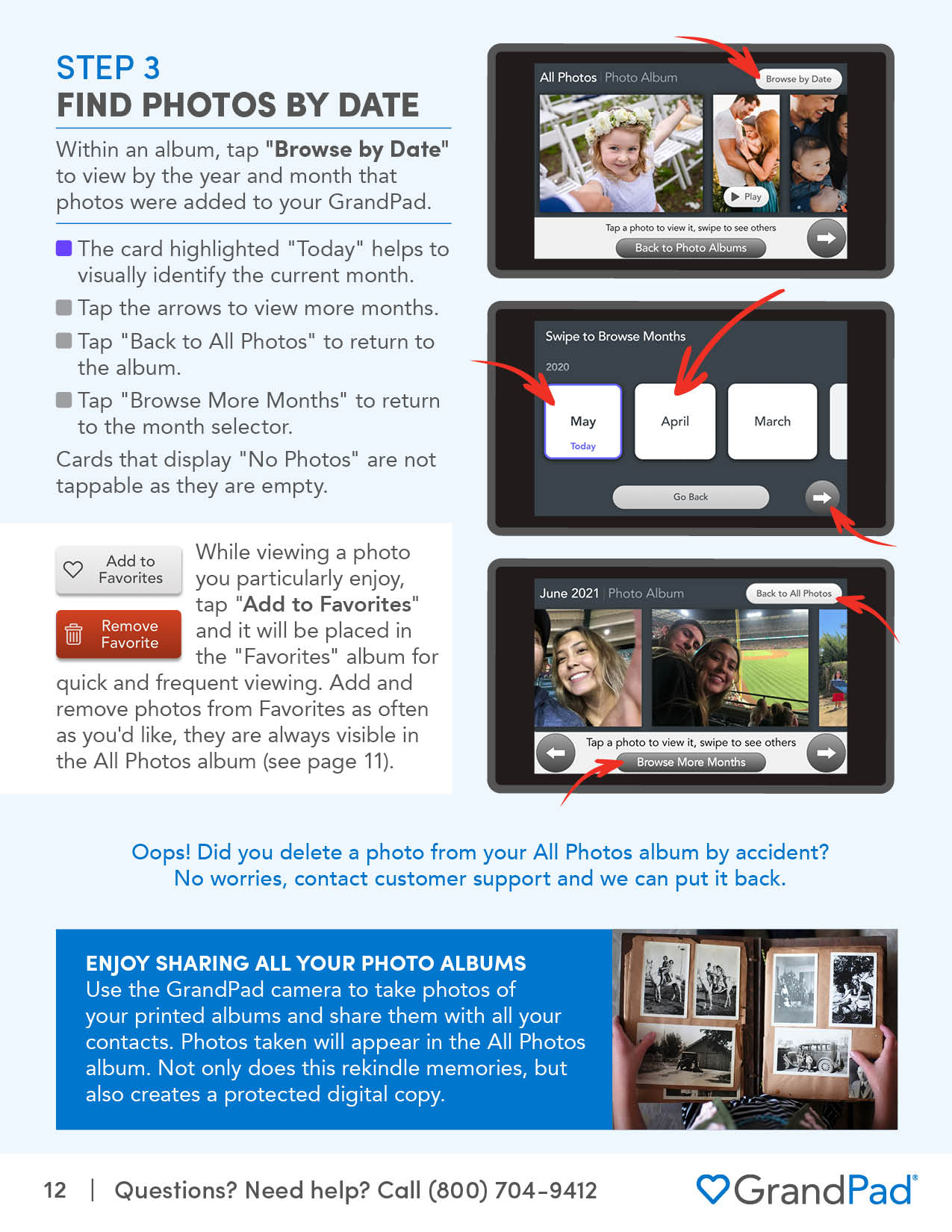 Instruction on browsing photos by date