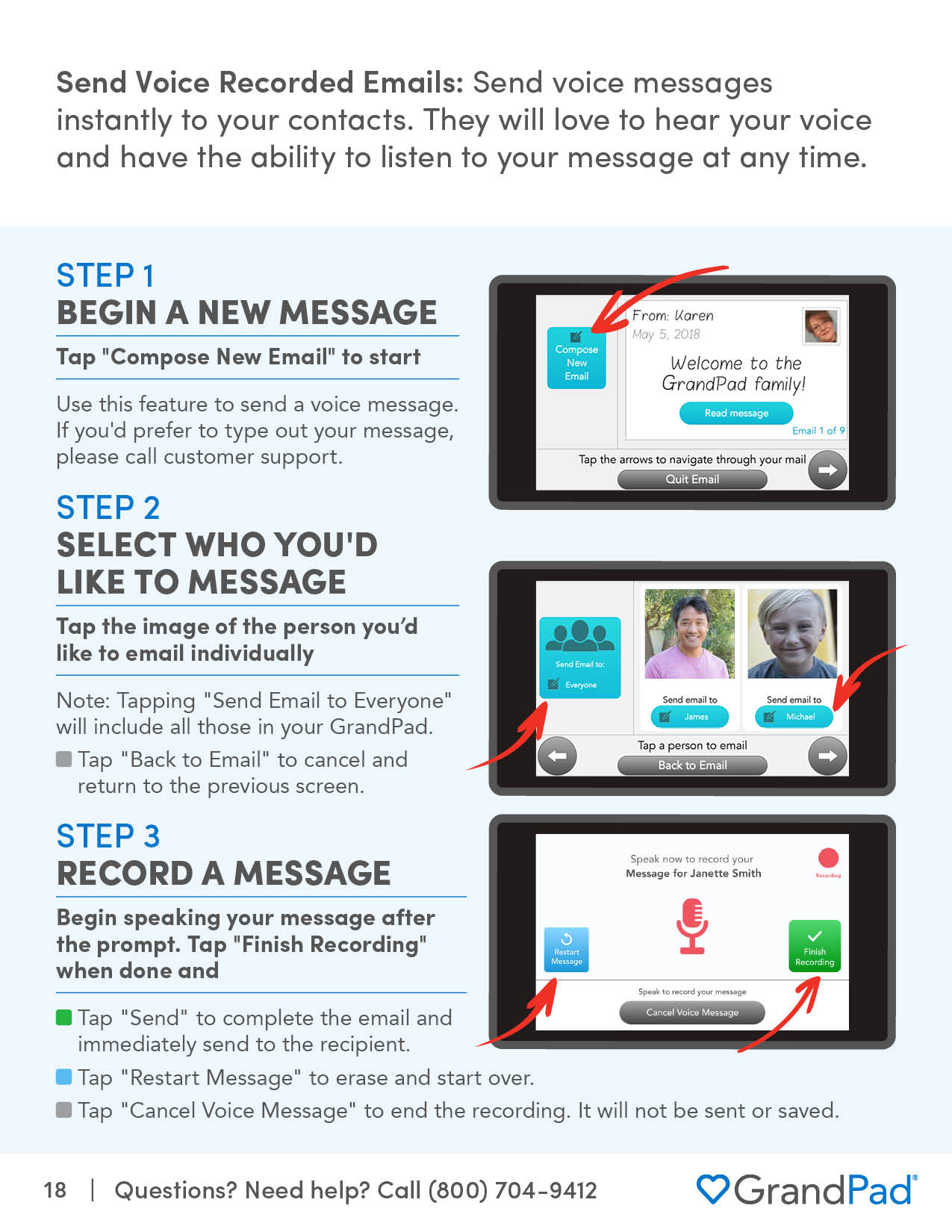 Instruction on using Email to send a message