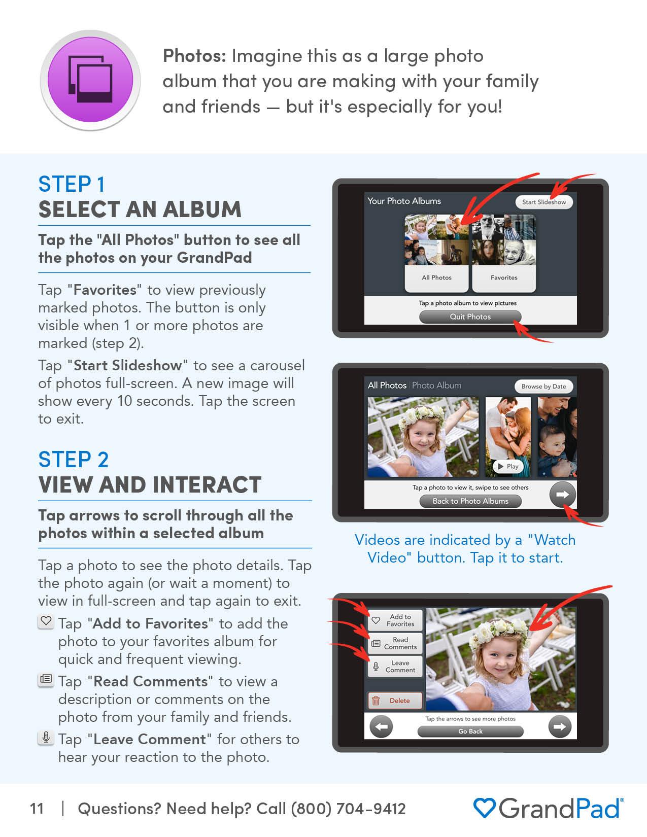 Instruction on using Photos