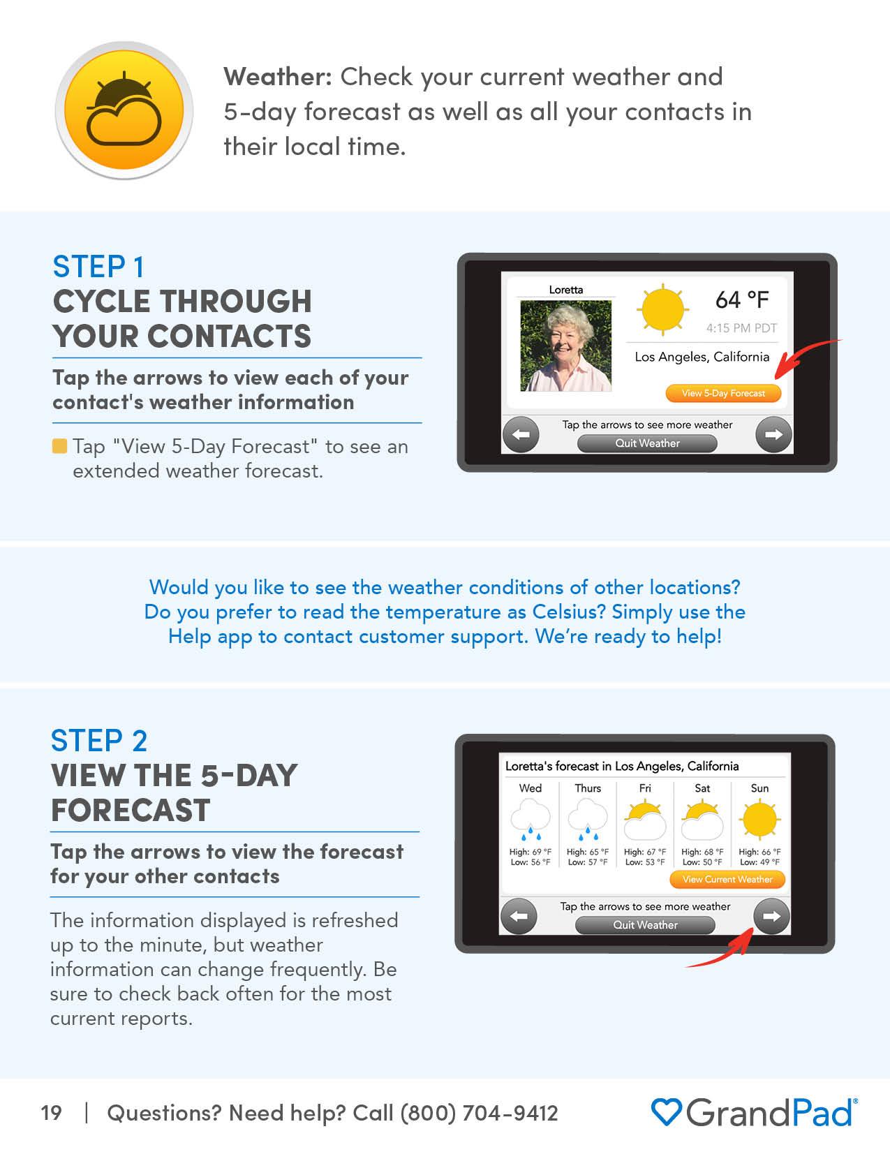 Instruction on using Weather