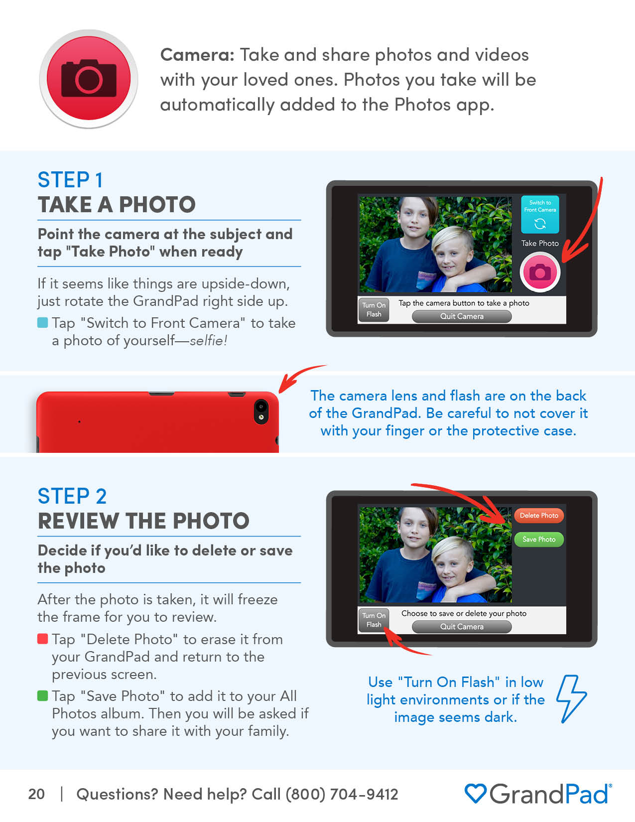 Instruction on using Camera app