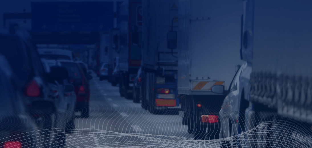 traffic of cars and trucks on the road