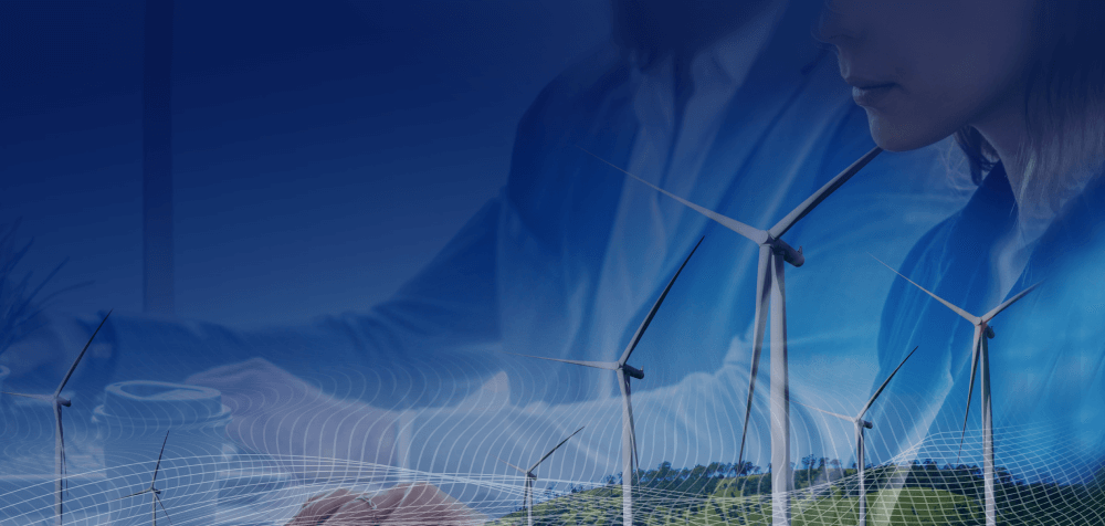 Wind turbines on plain lands with an overlay