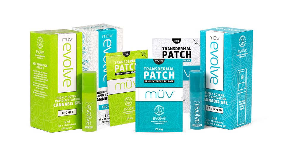 A group shot of MUV Cannabis Transdermal Products