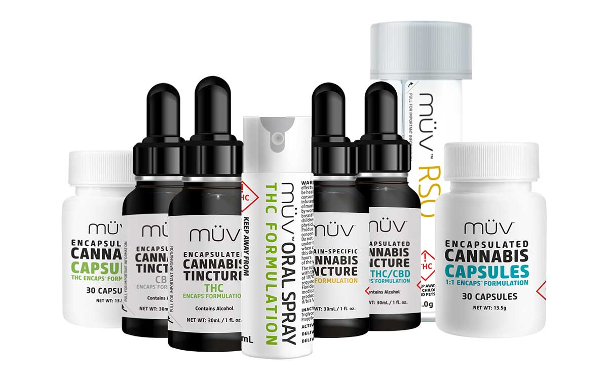 A group shot of MUV Cannabis Oral Products