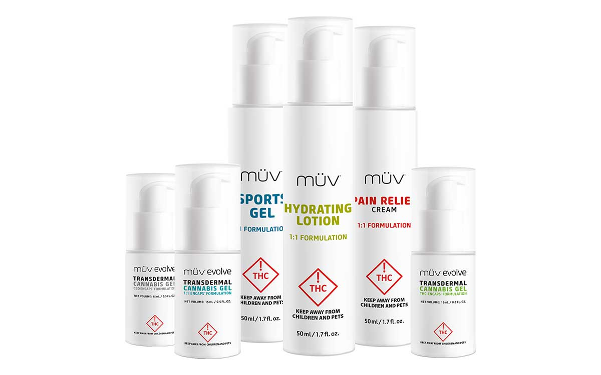 A group shot of MUV Cannabis Topicals Products
