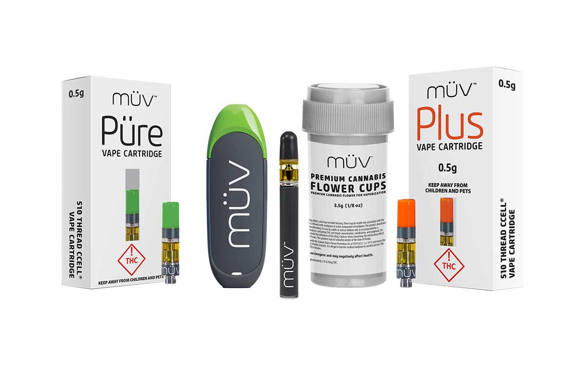 A group shot of MUV Cannabis Vape Products