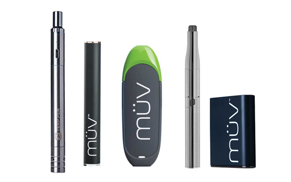 A group shot of MUV Cannabis Hardware Products