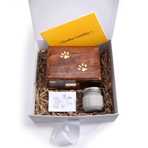Dog euthanasia: Our keepsake box can help you to memorialise your best friend.