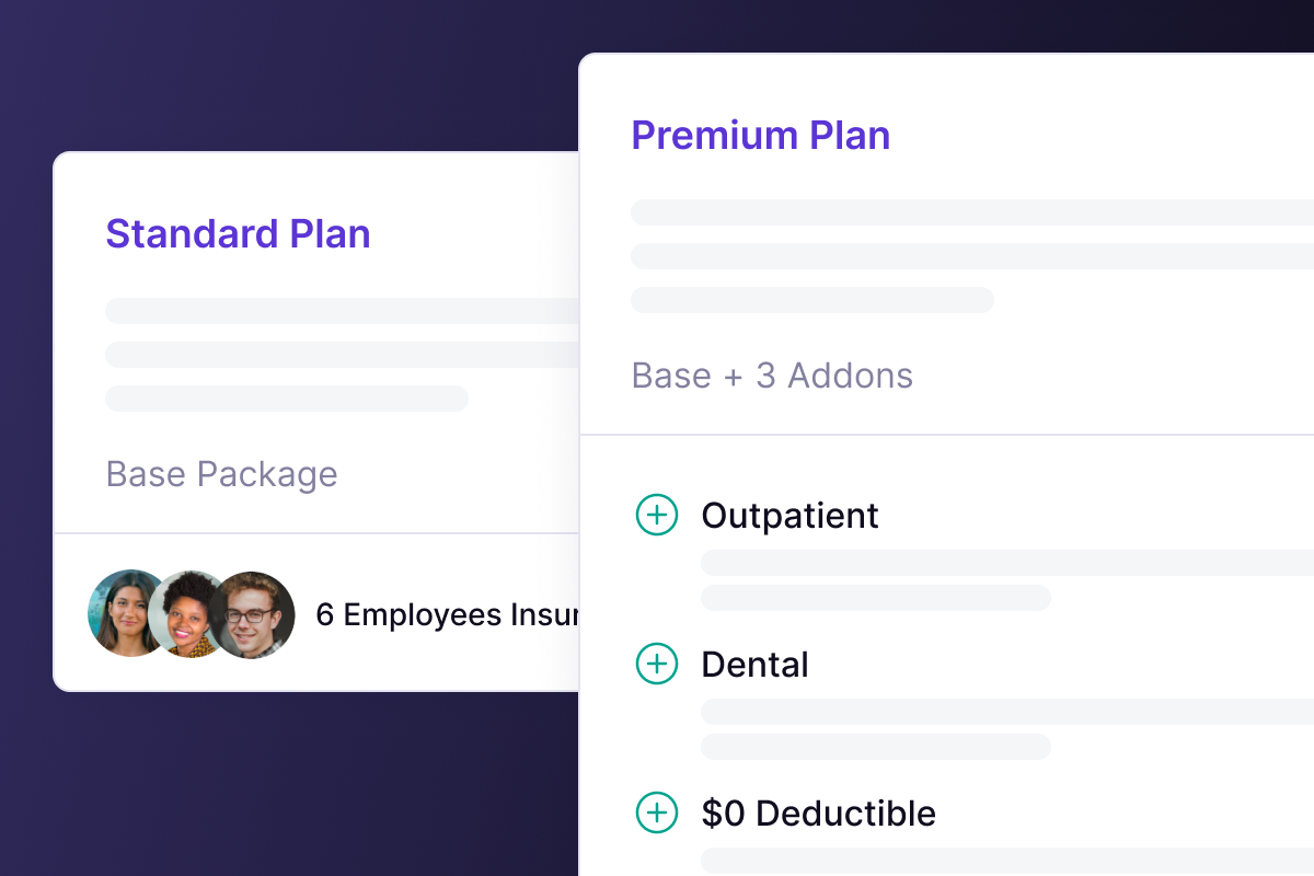 Panther's standard and premium insurance plans screenshot