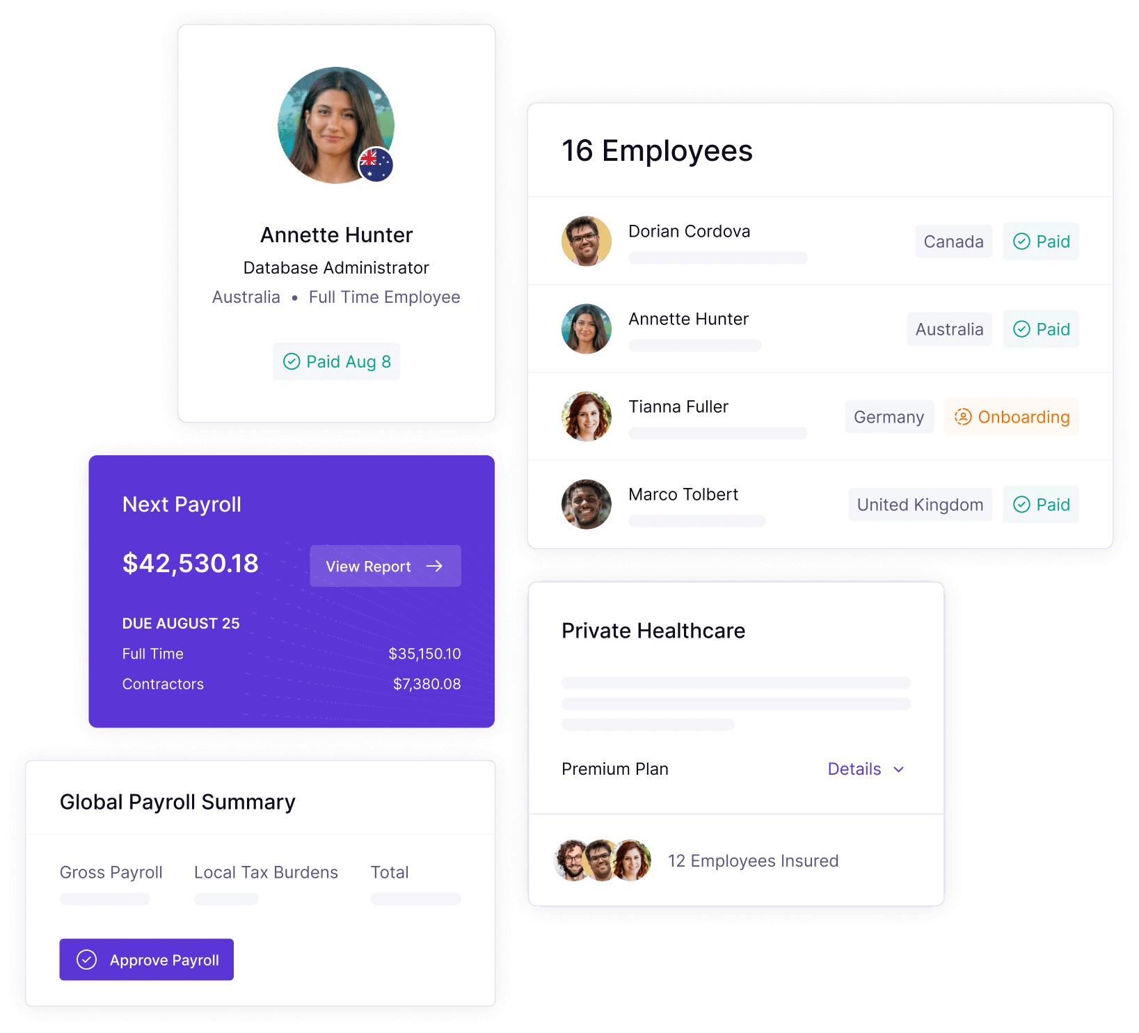 Panther's global employment platform screens