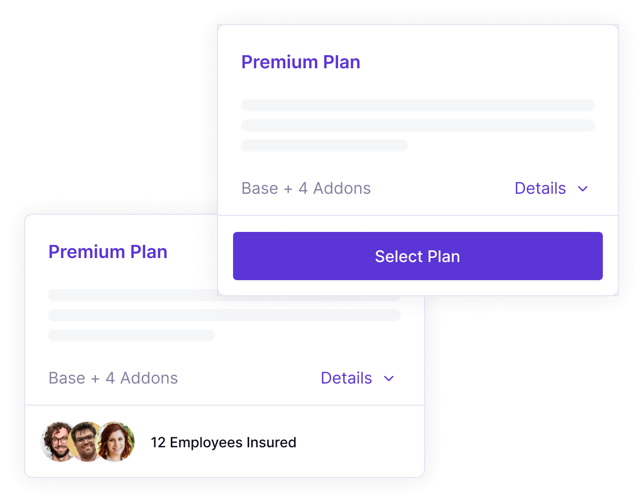 Platform screenshots of Panther's standard and premium insurance plans