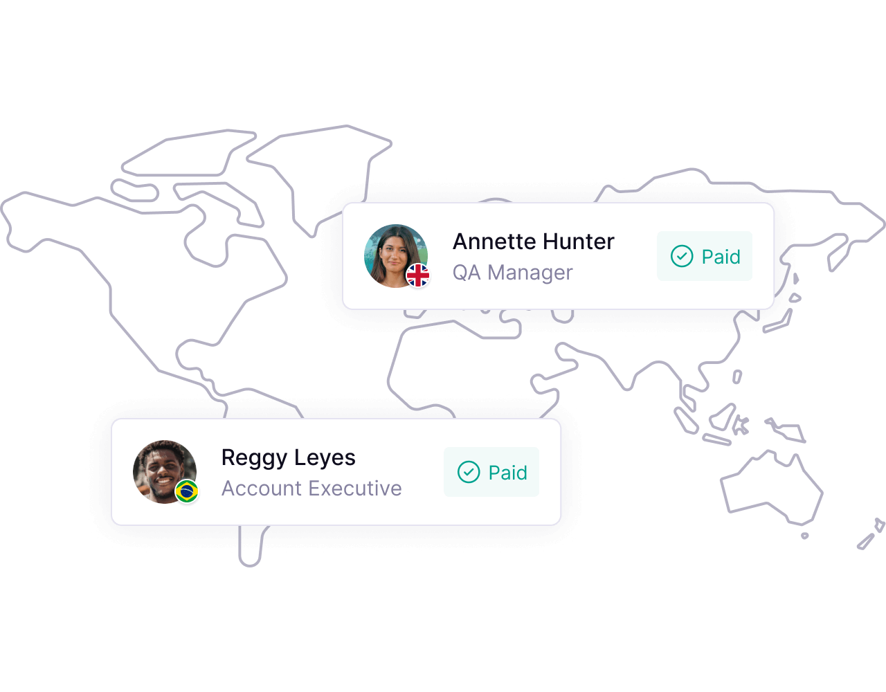 World map with two remote employees in view