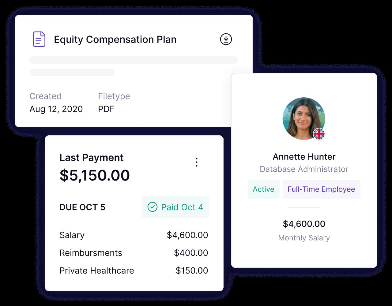 Screenshots of Panther's platform on global employment
