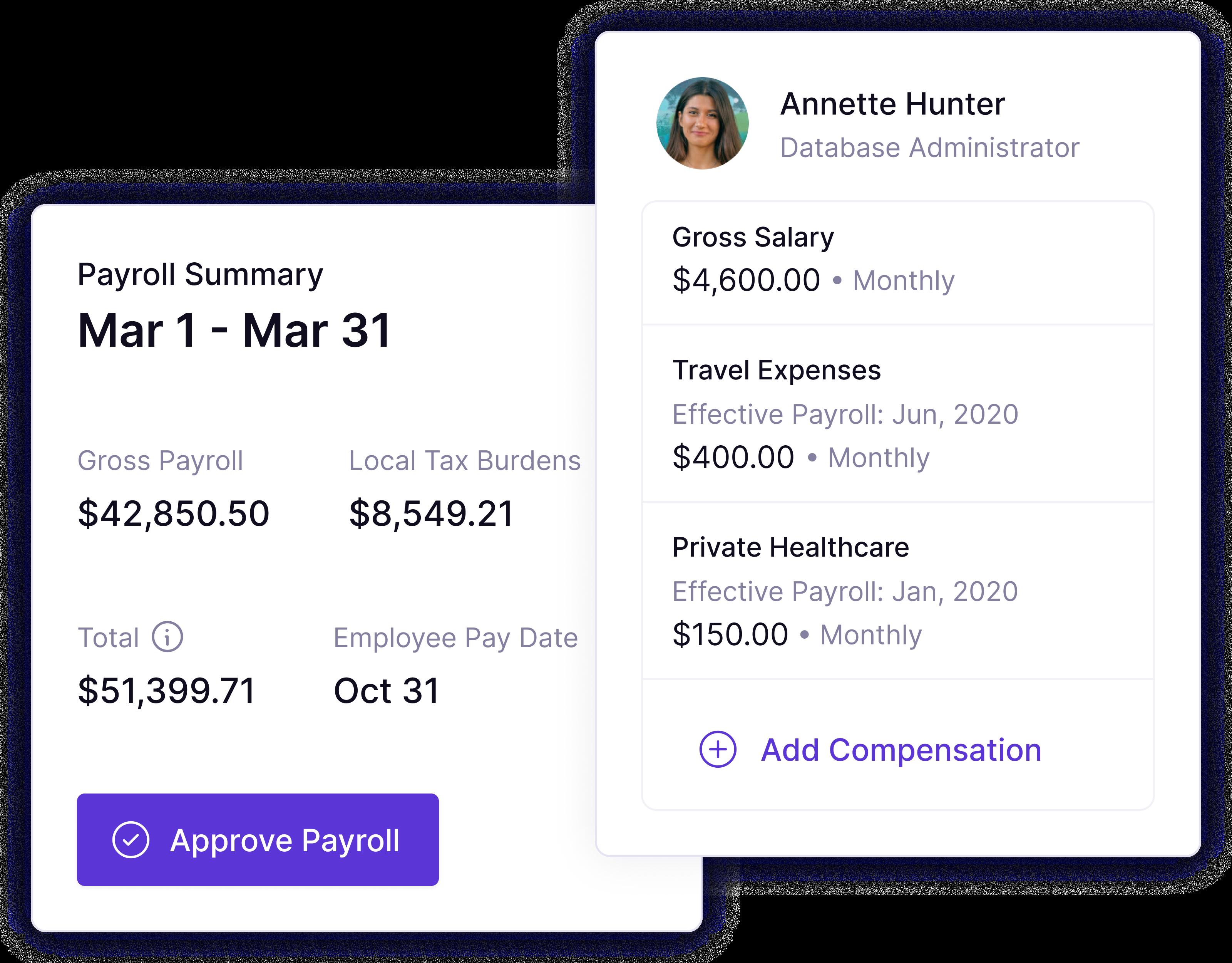Platform screenshots of Panther's global, remote payroll