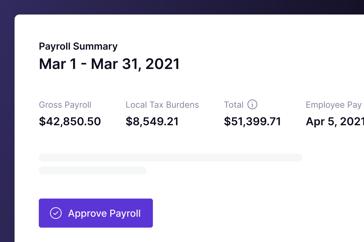Panther's payroll summary screenshot