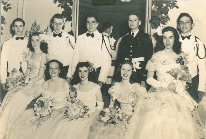 (Far Right) Brad & Sally Currey at Baylor Military School Dance