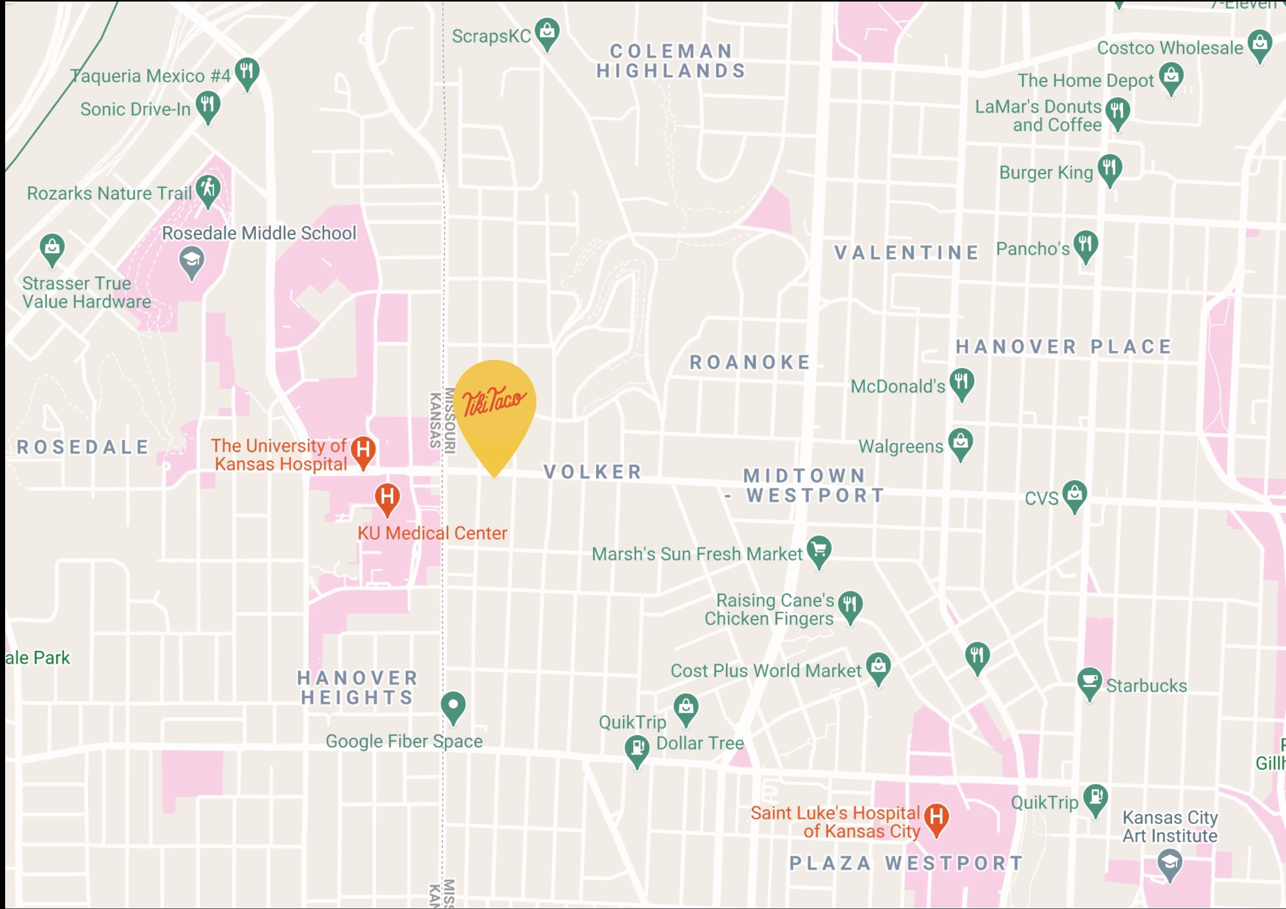 Non-interactive map of Tiki Taco's geo location