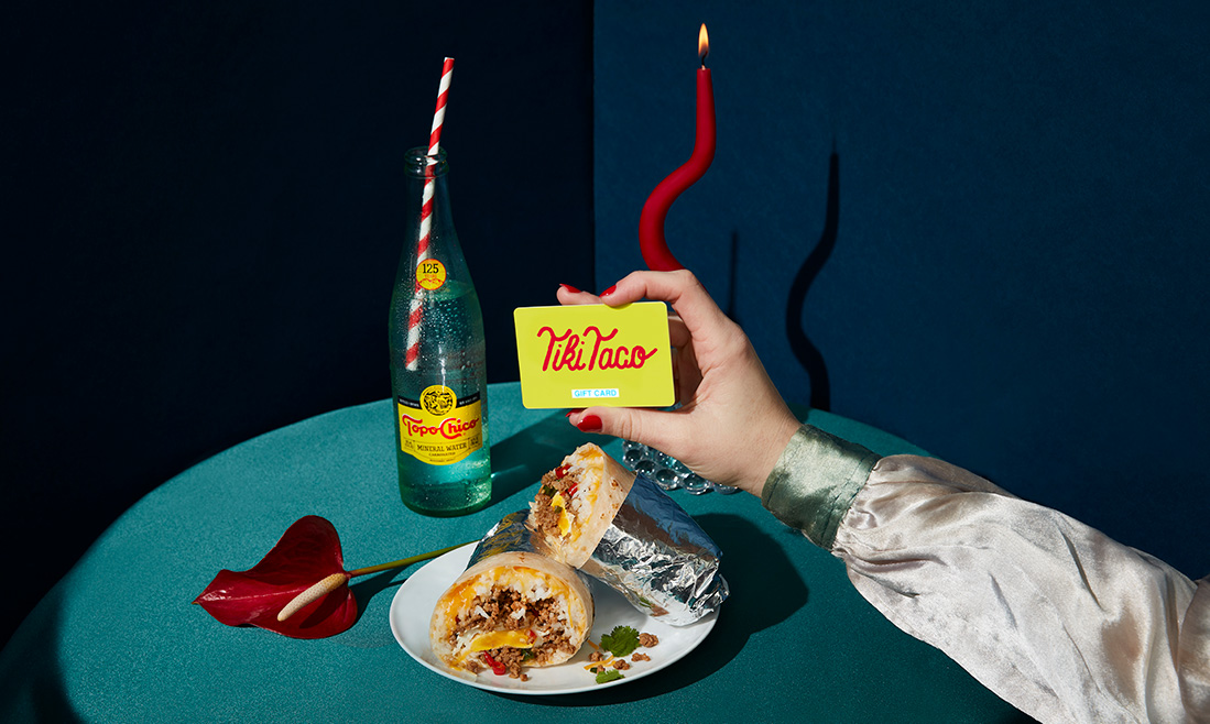 Tiki Taco Date Night with a burrito, Topo Chico, and Gift Card.