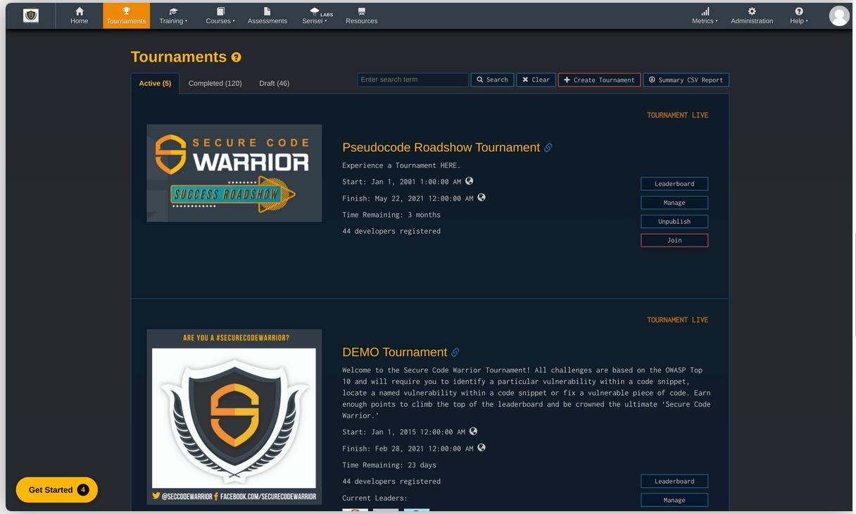 Secure Code Warrior Tournaments