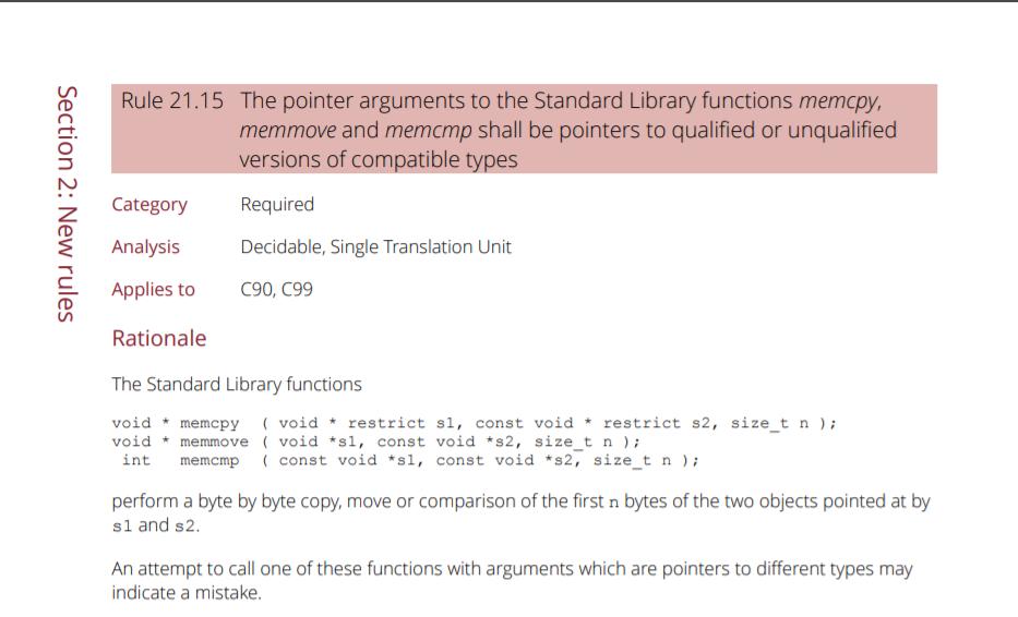 Screenshot of MISRA C Rule 21.15
