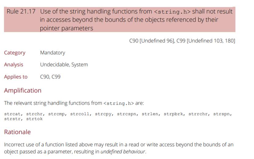 Screenshot of MISRA C rule 21.17.