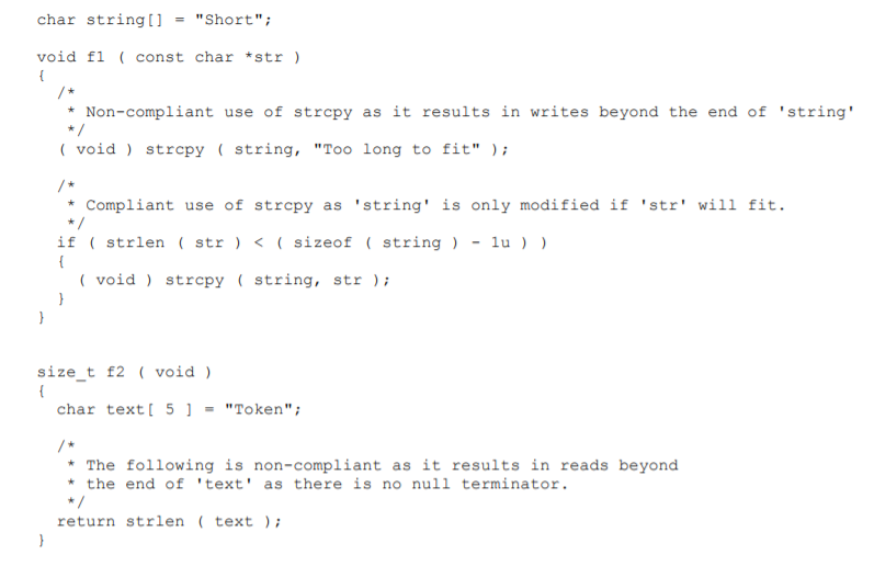 Screenshot of a correct example of string handling functions