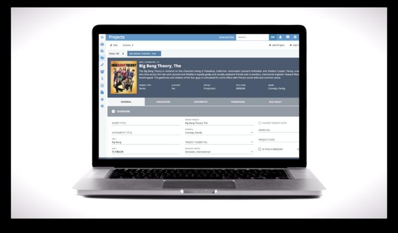 laptop displaying FilmTrack app